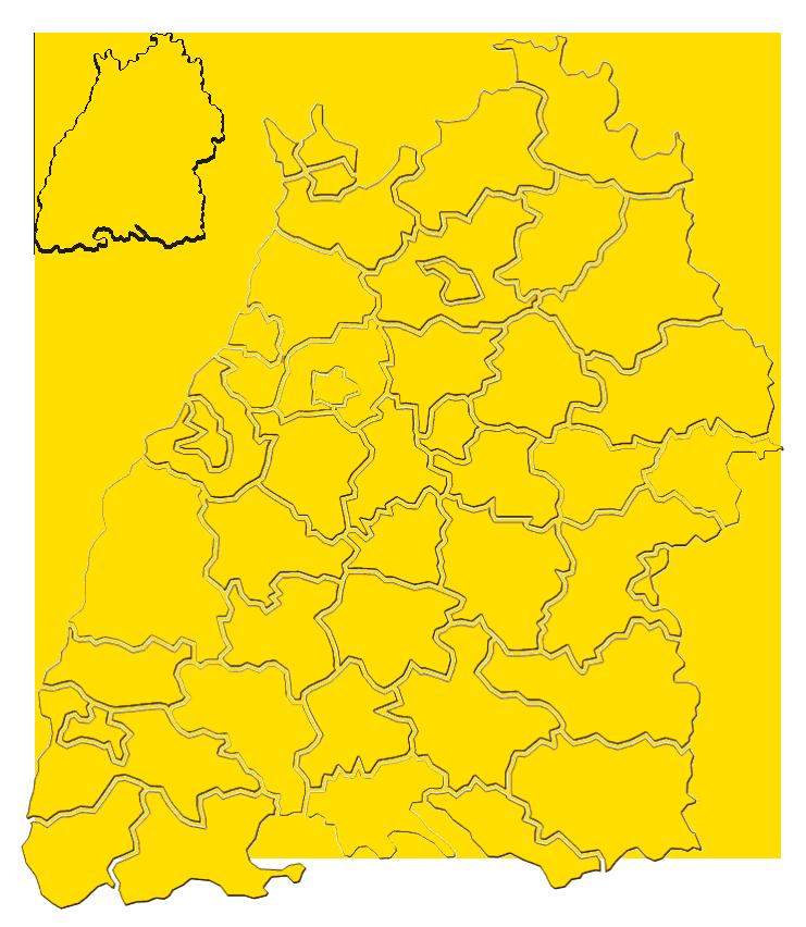 Karte mit Landkreisen in Baden-Württemberg